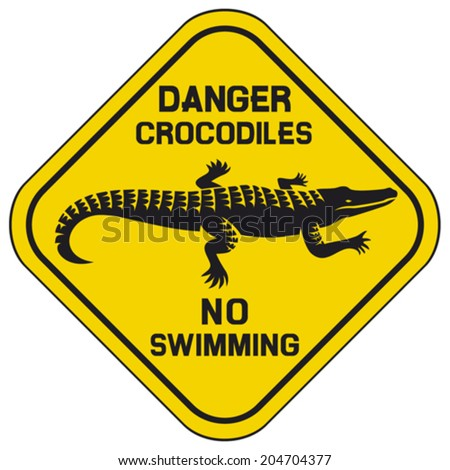 danger crocodiles no swimming sign (crocodile danger sign) - stock vector