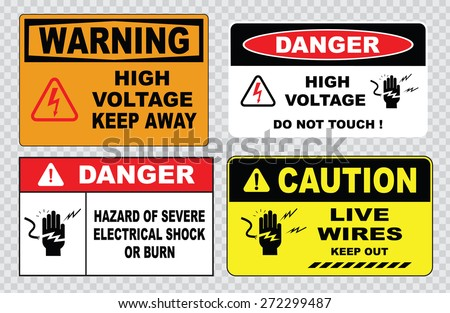 danger hazard of severe electrical shock or burn (this enclosure contains high voltage electrical equipment and must not be entered except by permission, high voltage security fence do not touch ) - stock vector