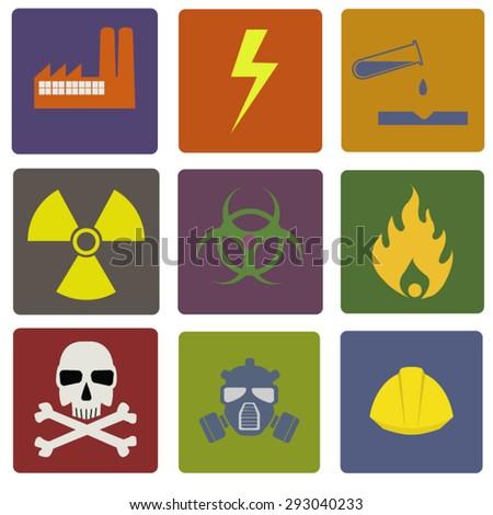 Danger, hazard warning icons - stock vector