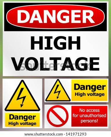 Danger High-Voltage Label Set - stock vector