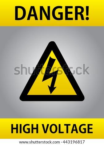 Danger High Voltage Yellow Triangle European Warning Sign Black Lightning Bolt - stock vector
