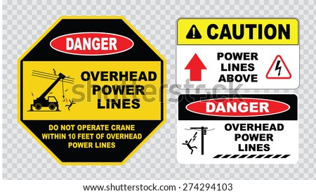danger overhead power lines or electrical safety sign (do not operate crane within 10 feet of overhead power lines, caution overhead power lines). - stock vector