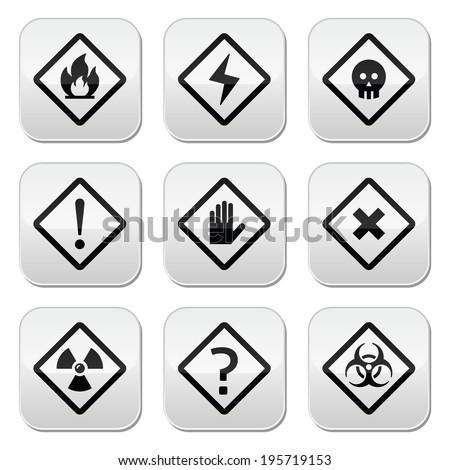 Danger, risk, warning buttons set - stock vector