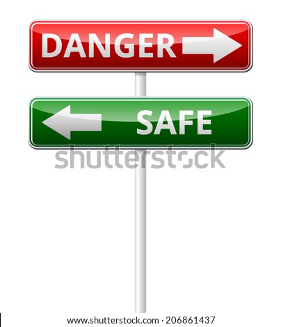 Danger Safe traffic sign with reflection isolated on white background - stock vector