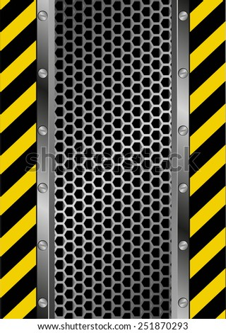 danger sign and grate background - stock vector