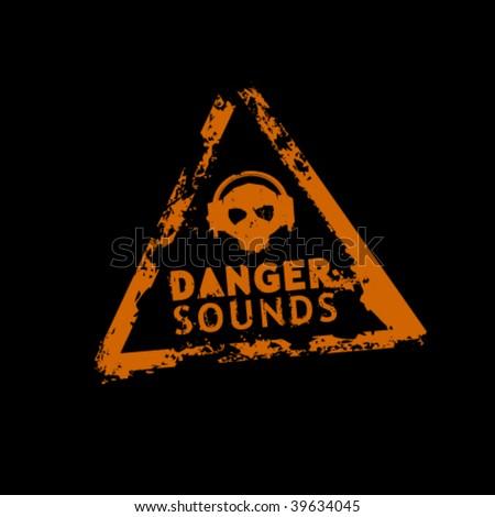 Danger sound vector rubber stamp - stock vector