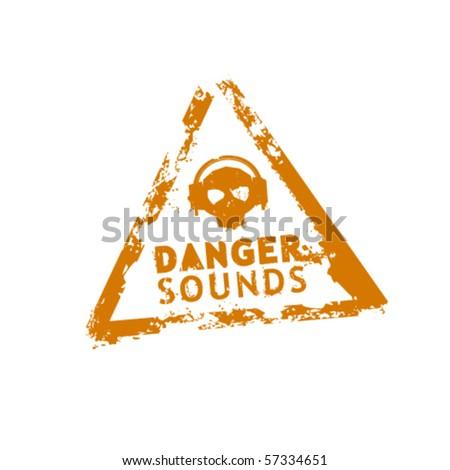 Danger sounds vector rubber stamp - stock vector