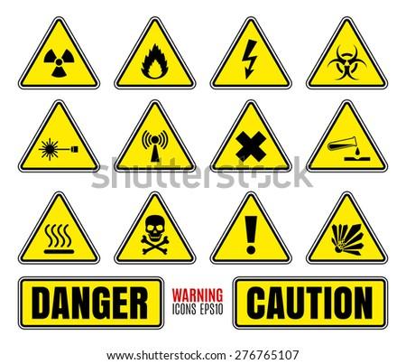 Danger symbols set - stock vector