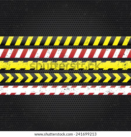 Danger tapes. Under construction, caution danger, police line do not cross in metal texture plate - stock vector