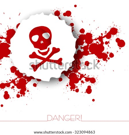 Danger warning background with abstract blots and skull with bones.Red and white. - stock vector