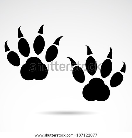 Dangerous animal footprint isolated on white background. VECTOR illustration. - stock vector