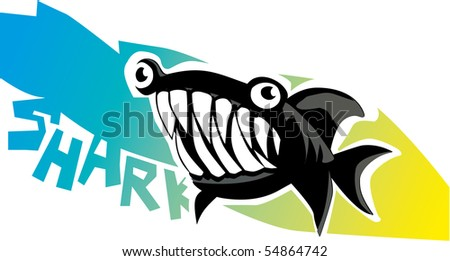 dangerous cartoon shark - stock vector