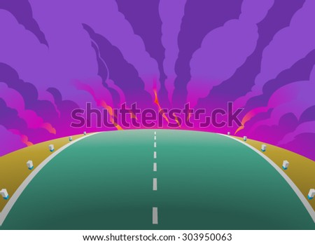 Dangerous journey.Vector illustration of steep road and the crimson light gleamed and sparkled on the horizon,with clouds and smoke in the background. Empty space leaves room for custom signs or text. - stock vector
