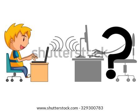 Dangers of internet, child conversation, concept, vector illustration - stock vector