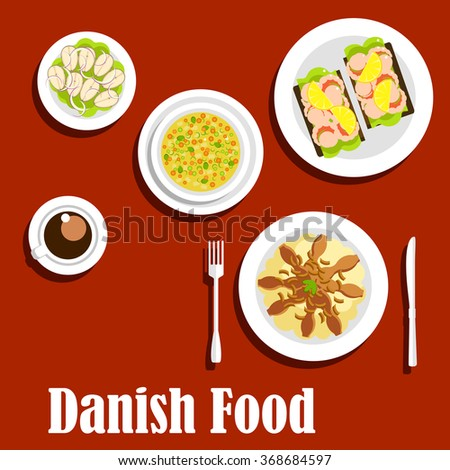 Danish cuisine flat icons with traditional mashed potatoes topped with fried bacon and onion, pea soup, steamed cod, open sandwiches on rye bread with shrimps, cup of coffee - stock vector