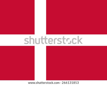 Danish flag. Official state symbol of Denmark. Correct colors and proportions. Red with a white Scandinavian cross. Can be used for images about Denmark, political posters, maps. Vector illustration. - stock vector