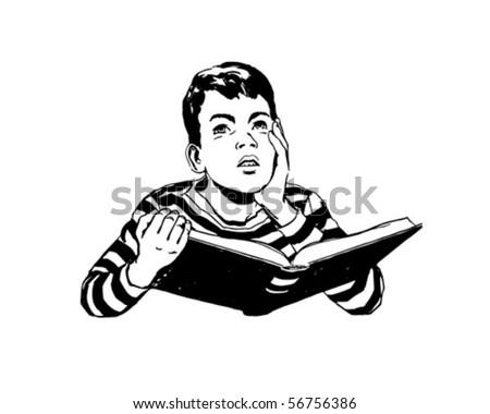 Dare To Dream - Boy Reading Book - Retro Clip Art - stock vector
