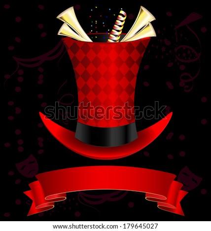 dark background, magic top-hat and golden fanfare - stock vector