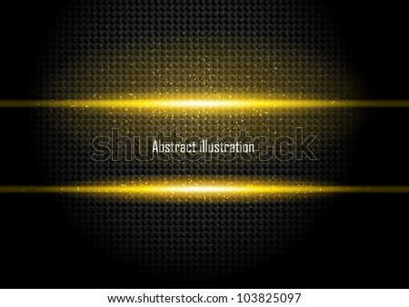 Dark background with orange rays and black circles - stock vector