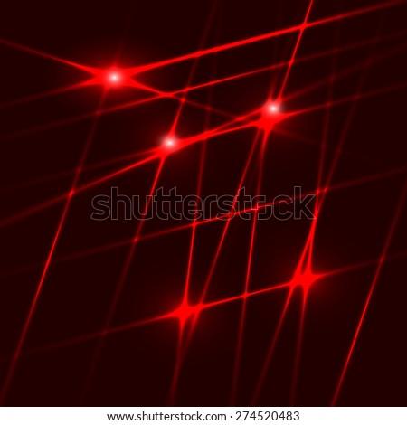 Dark background with red laser lights. Vector illustration ...
