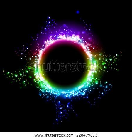 Dark background with shiny round frame. Black hole cosmic design - stock vector