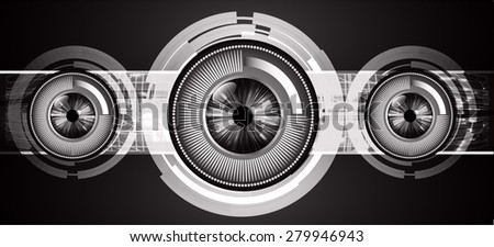 dark black color Light Abstract Technology background for computer graphic website internet and business. circuit. vector illustration. infographics. silver. eye eyeball. - stock vector