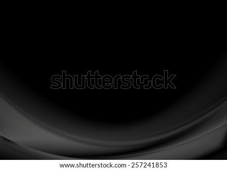 Dark black smooth waves background. Vector illustration eps 10 - stock vector