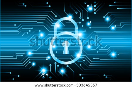 dark blue Abstract digital conceptual technology security background with lock. computer technology website internet web. infographics - stock vector