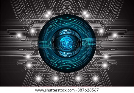 Dark blue black Light Abstract Technology background for computer graphic website internet and business. circuit. vector illustration. infographics. motion move blur.neon. pixel. eye scan - stock vector