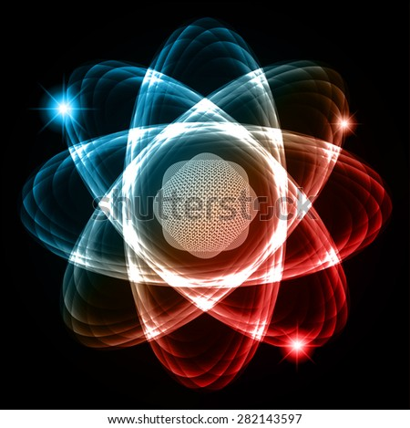 Dark blue brown red Shining atom scheme. Vector illustration. dark background. digital. infographics. Abstract Technology background for computer graphic website internet and business. circuit. - stock vector
