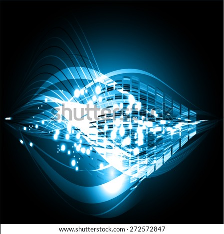 dark blue color Light Abstract Technology background for computer graphic website internet and business. black background. Seamless wallpaper pattern. wave. tattoo. logo. - stock vector