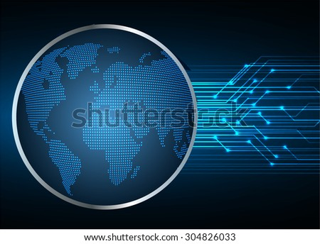 dark blue color Light Abstract Technology background for computer graphic website internet and business.circuit.vector illustration. abstract digital. infographics. motion move blur.World map - stock vector
