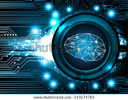 dark blue color Light Abstract Technology background for computer graphic website internet and business. circuit. illustration. infographics. binary code background. vector. Brain system, Brainstorm - stock vector