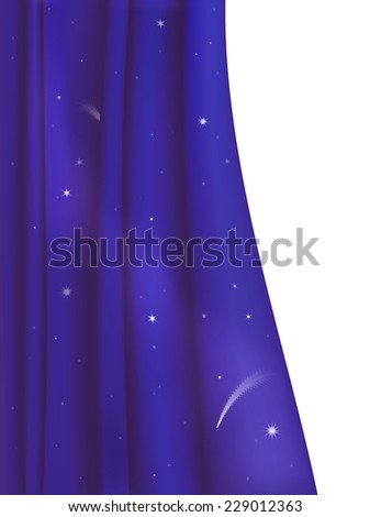 dark blue curtain looks like realistic night sky or space on white background - stock vector