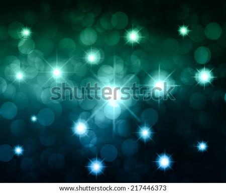 dark blue Defocused Light, Flickering Lights, Vector abstract festive background with bokeh defocused lights. Universe, galaxies, stars. - stock vector