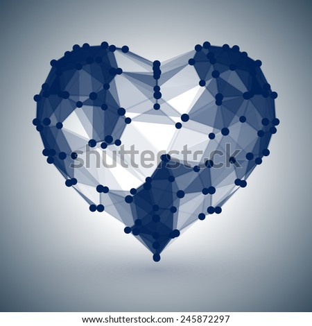Dark Blue Heart, low polygonal design with dots - stock vector