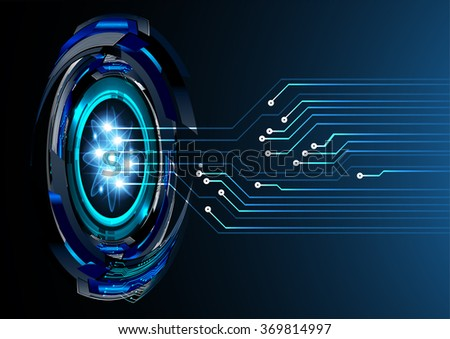 dark blue Light Abstract Technology background for computer graphic website internet and business. circuit. illustration.digital.infographics. binary code. zero one. eye  scan virus vector - stock vector
