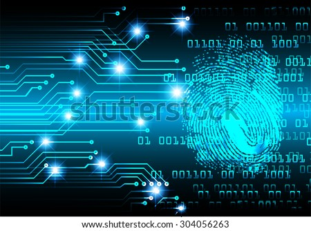 dark blue Light Abstract Technology background for computer graphic website internet web. circuit. illustration. infographics. binary code. www. vector. Spark. motion move blur. Finger-print scan.  - stock vector
