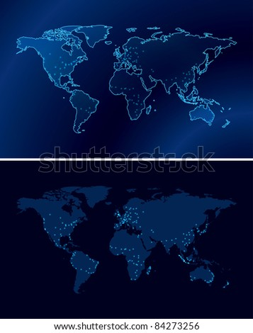 dark blue maps of the world with light of the cities - eps 10 - stock vector