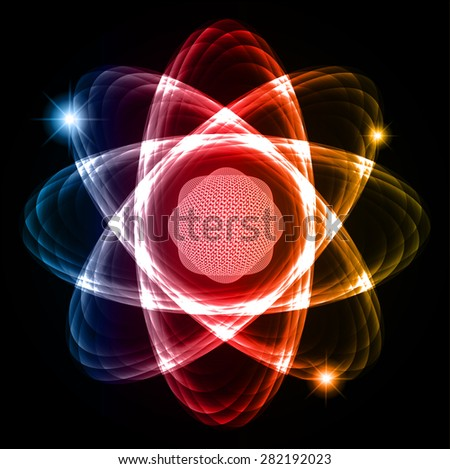 Dark blue red yellow Shining atom scheme. Vector illustration. dark background. digital. infographics. Abstract Technology background for computer graphic website internet and business. circuit. - stock vector