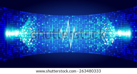 Dark blue Sound wave background suitable as a backdrop for music, technology and sound projects. Blue Heart pulse monitor with signal. Heart beat. - stock vector