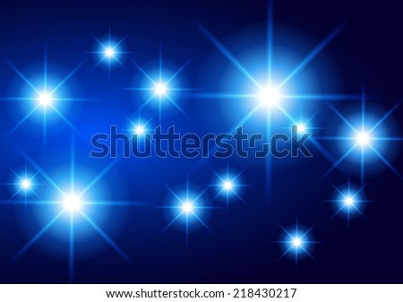 Dark blue sparkling background with stars in the sky and blurry lights, illustration. Abstract, Universe, Galaxies, - stock vector
