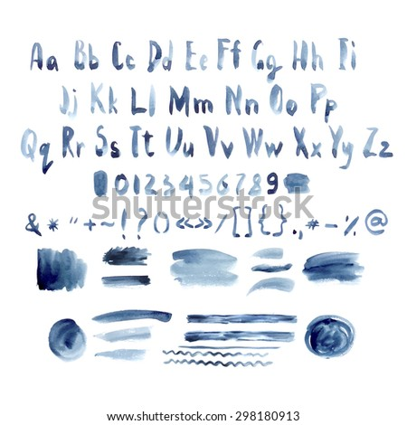 Dark Blue Vector Watercolor Alphabet, Hand Drawn Font, Letters with Ink Spots Lines and Strokes, vector illustration - stock vector