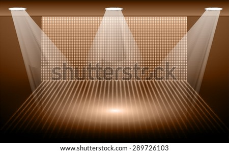 Dark brown Abstract light lamps background for Technology computer graphic website internet and business.. Screen on stage. Vector illustration.Spot Effect. neon. point, platform, Spotlights. arena - stock vector