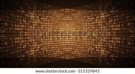 Dark brown Abstract light lamps background for Technology computer graphic website internet and business. Screen on stage.Vector illustration.Spot Effect. neon.point, platform, Spotlights - stock vector