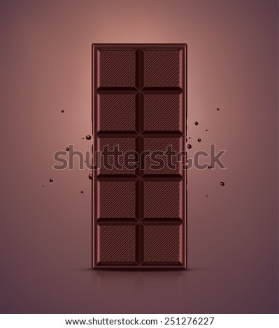 Dark chocolate bar, eps 10 - stock vector