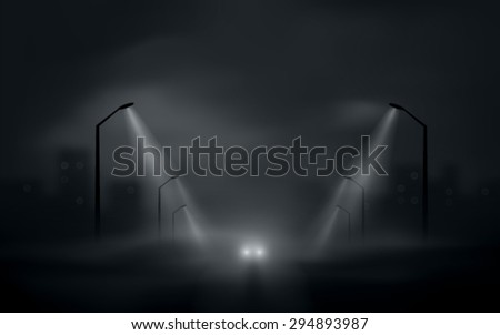 dark city road with car headlights vector - stock vector