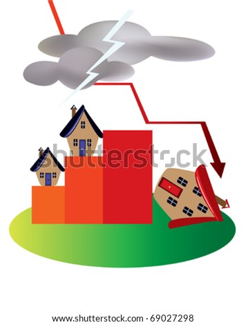 Dark clouds over the property market - stock vector
