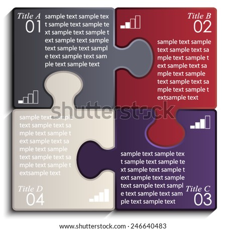 dark color puzzle infographic banner / vector illustration eps10  - stock vector