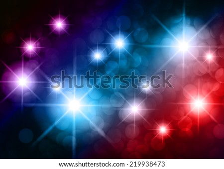 Dark colorful sparkling background with stars in the sky and blurry lights, illustration. Abstract, Universe, Galaxies. - stock vector